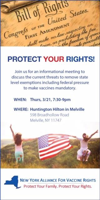 Protect Your Rights Thurs. 3/21, 7:30-9 pm Huntington Hilton in Melville 598 Broadhollow Rd Melville, NY 11747