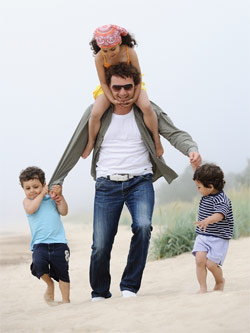 Father with three children