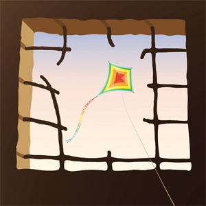 window with view of kite in sky