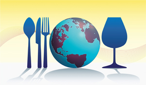 Place setting with fork, spoon, knife and world as plate
