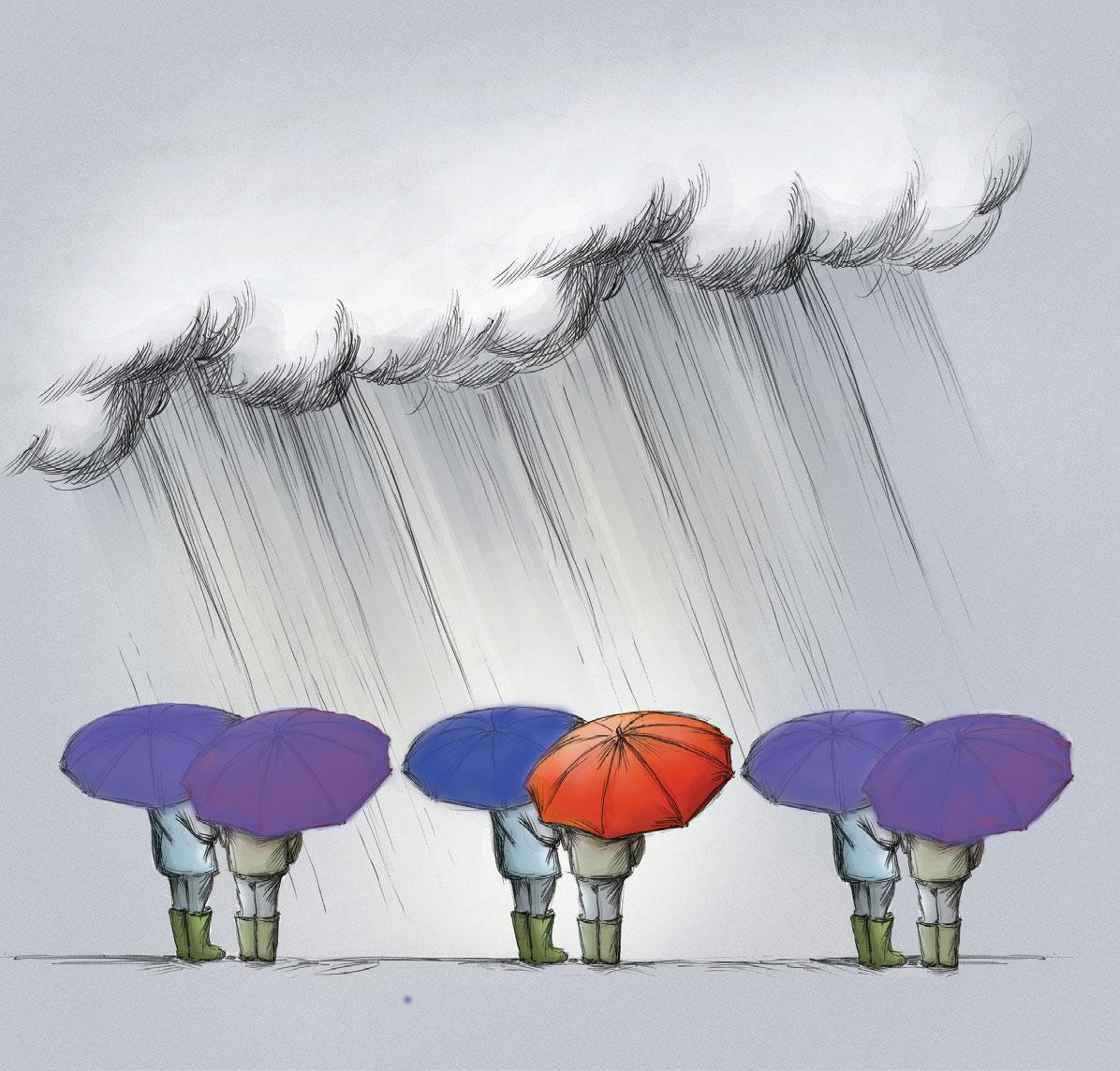 four people under umbrellas in the rain