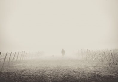 man walking in fog