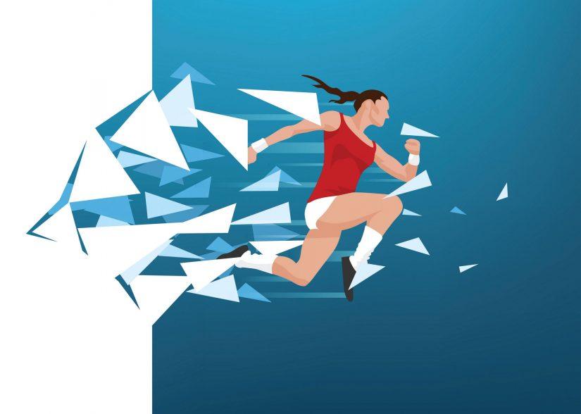 runner breaking through glass wall