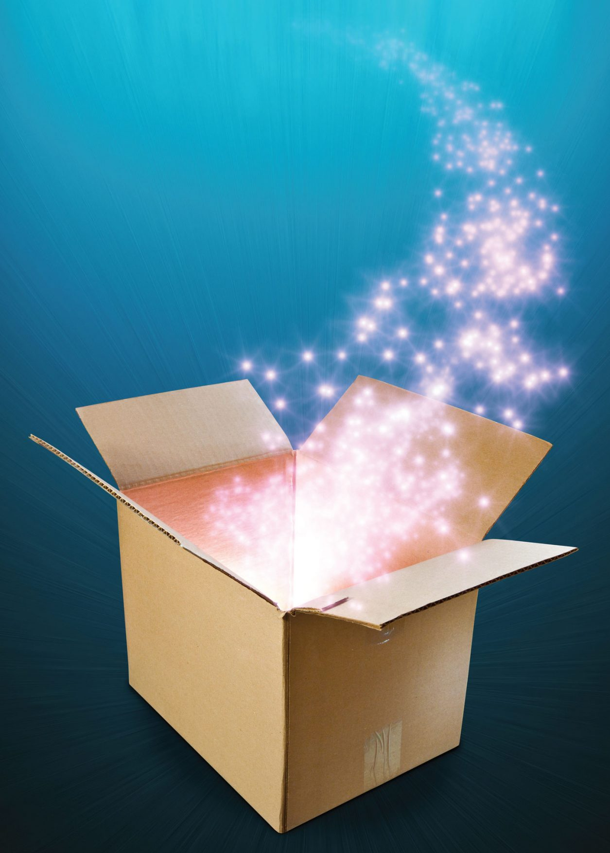 Open box with stars coming out