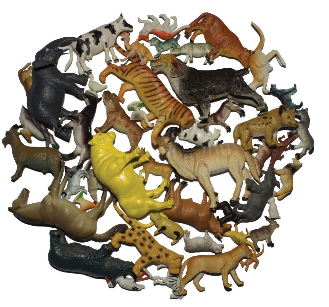 Plastic toy animals in a pile