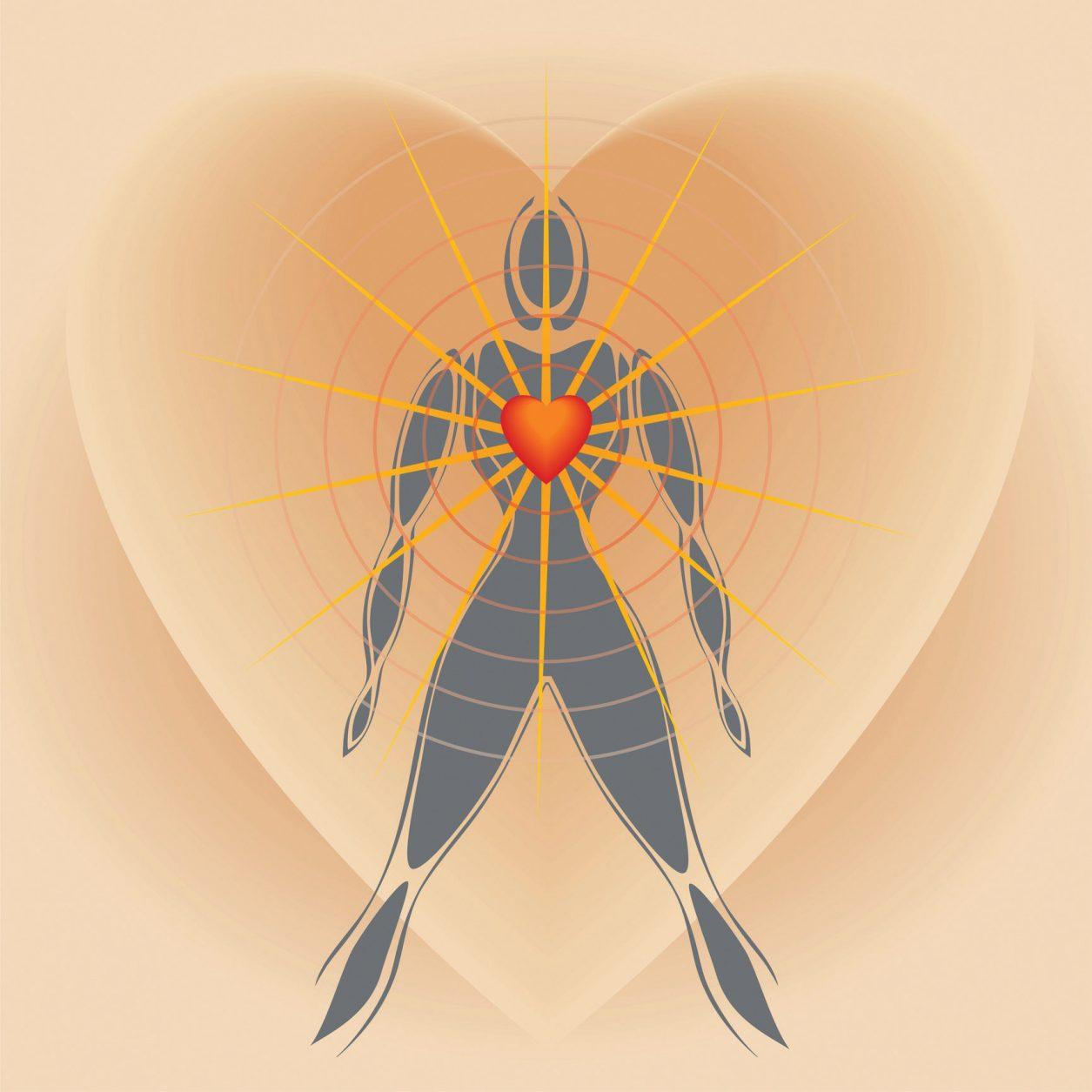 heart surrounding human figure