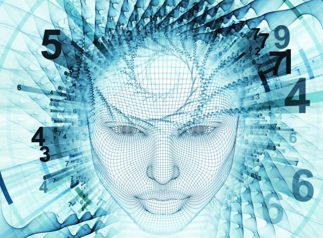womens face with numbers surrounding her