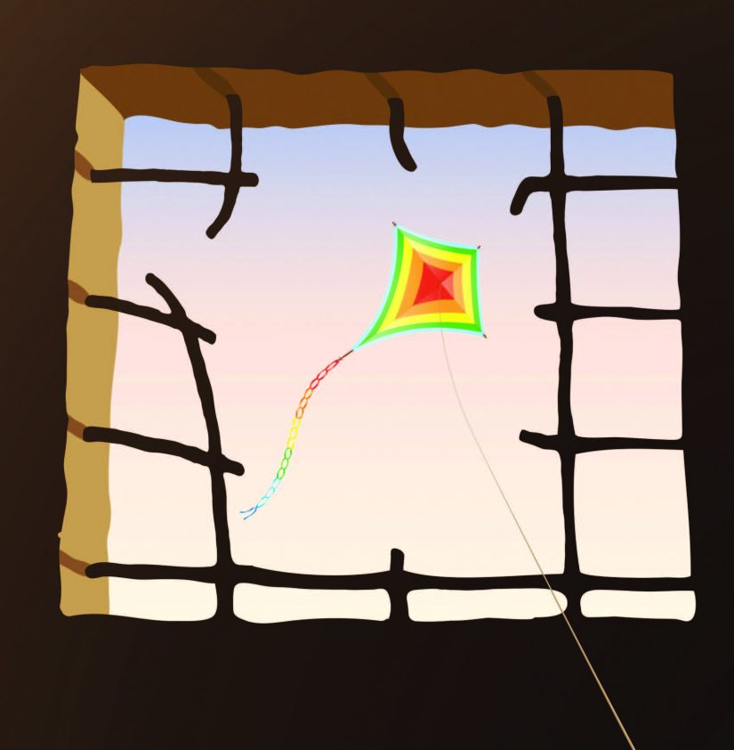 broken window with kite flying through it
