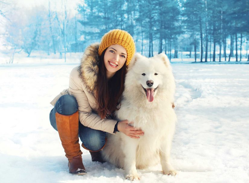 girl outside with dog