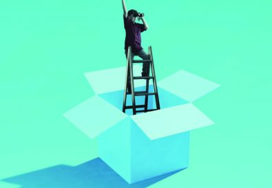 person on top of ladder with binoculars