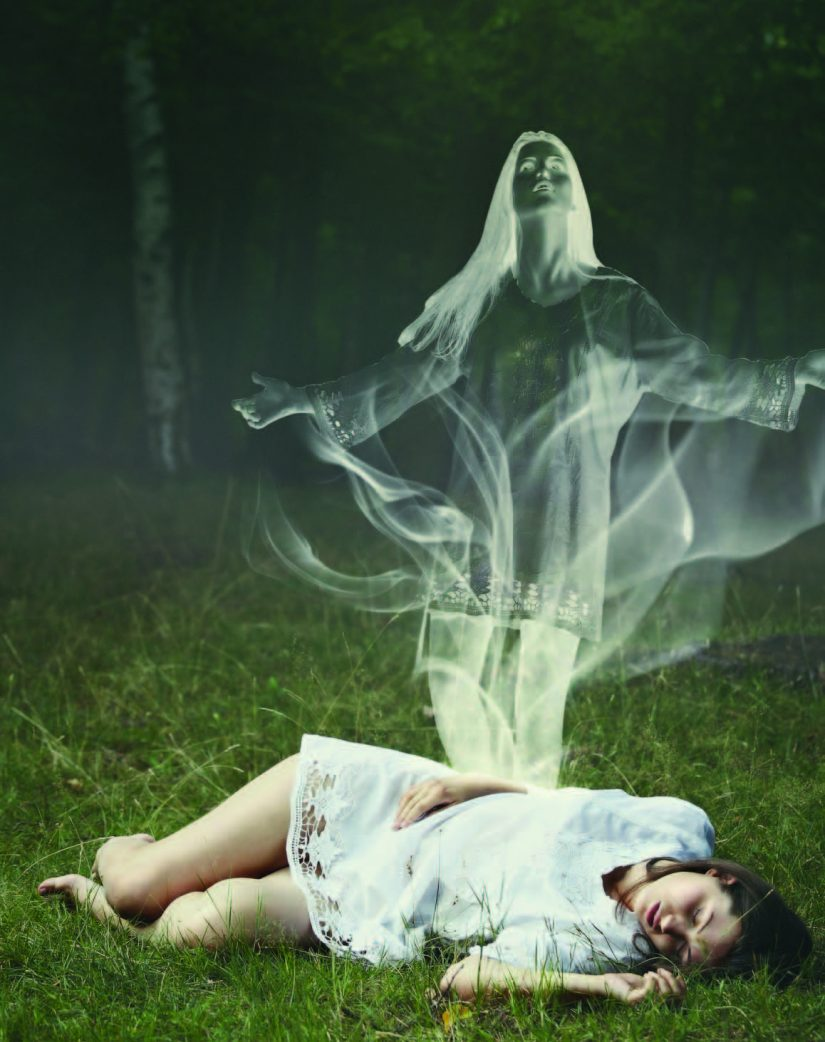 body with ghost figure on top